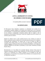 Comunicado en Contra de la Represiòn Realizada a los Lìderes Comunitarios