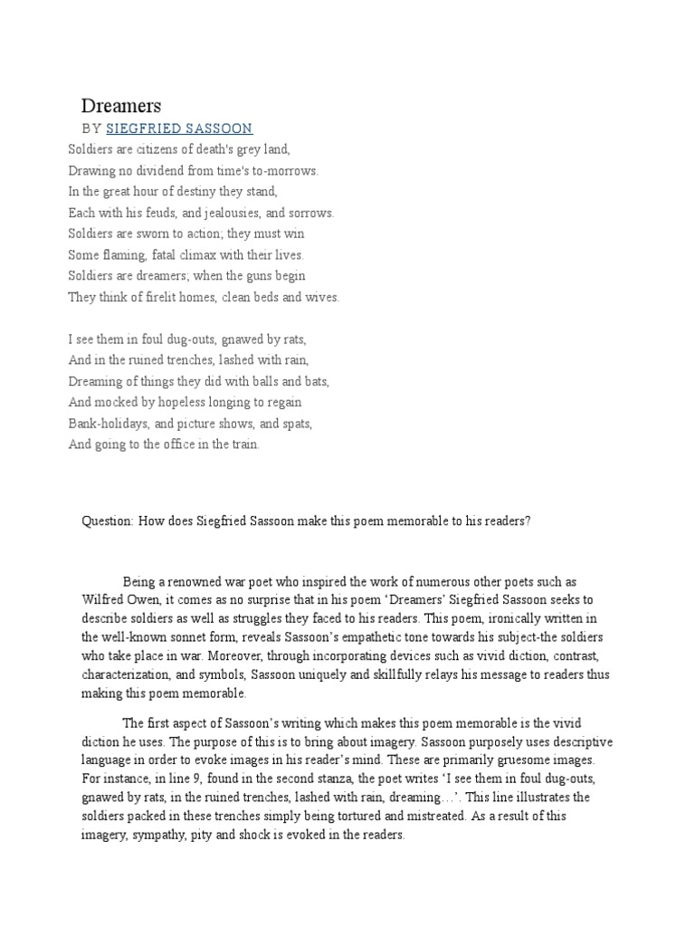 siegfried sassoon essay Essay when i saw the title of the poem suicide in the trenches by siegfried sassoon, i was instantly hooked into reading a short preview of the poem that hooked even more into knowing what it was about.