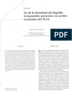 Estimación de La Densidade Del Líquido Saturado de Terpenoides Presentes en Aceites Esenciales Del Perú