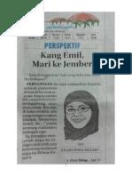Pak Ridwan Kamil, Mari Ke Jember! (Jawa Pos Radar Jember, Perspektif, 11 Juli 2015, Hlm. 1)
