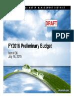 2016 SFWMD Preliminary Budget
