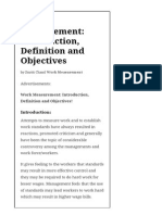 Work Measurement_ Introduction, Definition and Objectives