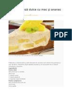 Tort de Brânză Dulce Cu Mac Şi Ananas