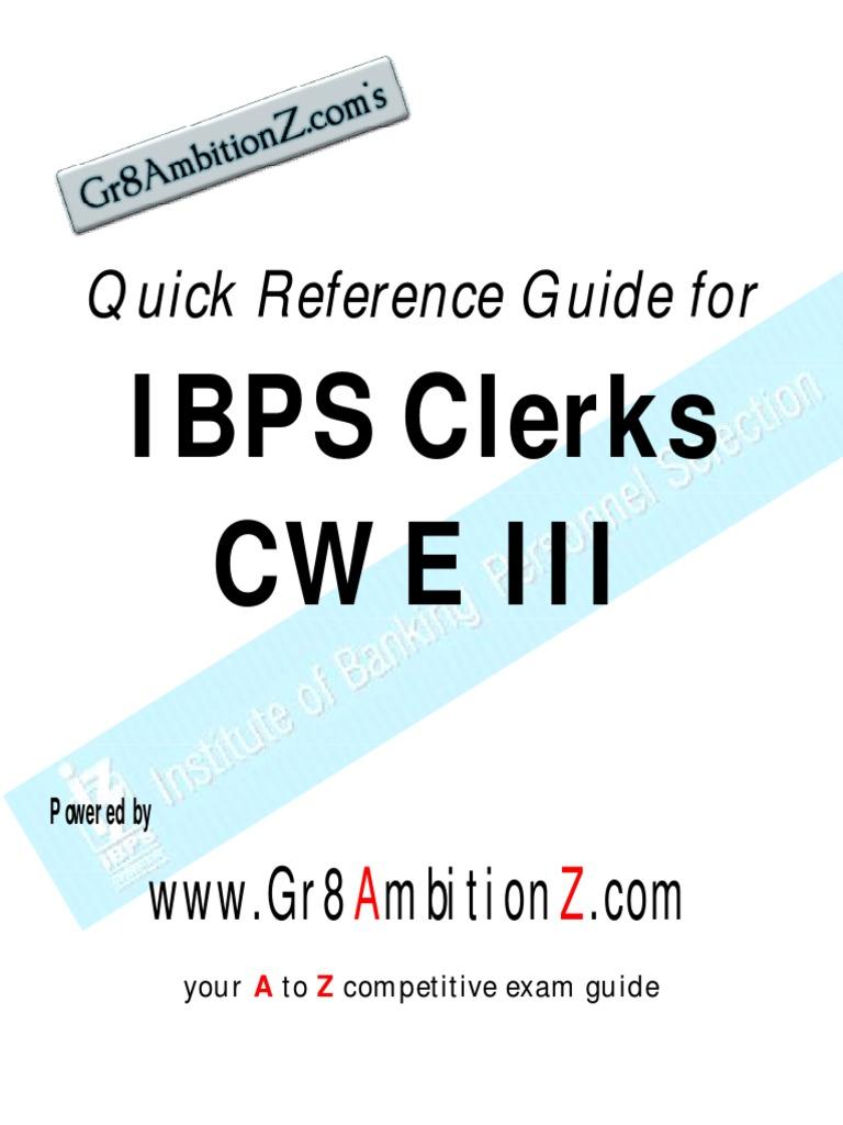 ibps clerksiii quick reference guide reserve bank of india banking rh scribd com SBI Bank Exam SBI Bank Exam