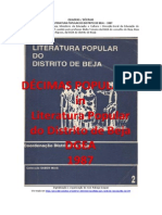 Décimas  - Quadras inseridas in LITERATURA POPULAR do DISTRITO de BEJA, 1987