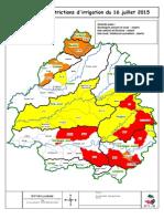 Carte Restrictions Irrigation 16 Juillet 2015