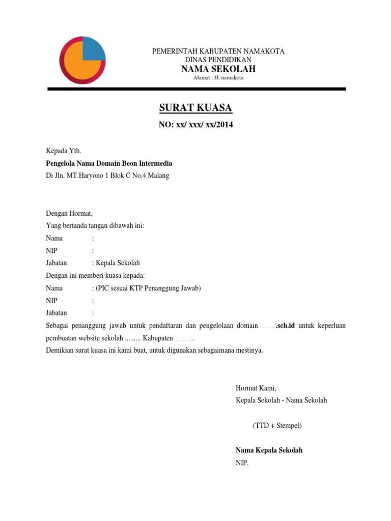 Surat Kuasa Kepala Sekolah
