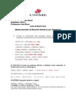 EXERCICIOS Balanceamento de Reações Químicas por  Tentativas PROVA.doc