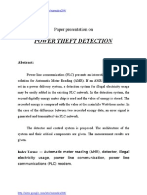 Power Theft Detection | Electric Power Transmission | Modem