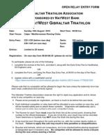 Open Relay Entry Form for the 2015 NatWest Gibraltar Triathlon