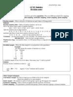 Gcse Statistics Revision Notes