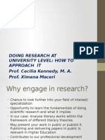 Presentation 1 Doing Research at Univ Level-how to Approach It