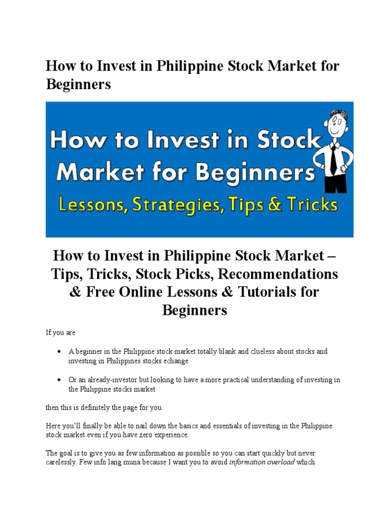 How to Invest in Philippine Stock Market for Beginners | Investing