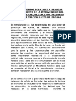 Procedimientos Policiales a Realizar Como Producto de La Intervencion Del Señor Juan Marquez Diaz Por Presunto Delito de Trafico Ilicito de Drogas