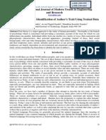 Literature Survey on Identification of Authors Trait Using Textual Data