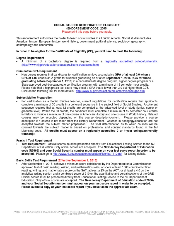 Nj social studies certification requirements postgraduate nj social studies certification requirements postgraduate education test assessment 1betcityfo Images