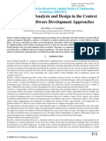 Requirements Analysis and Design in the Context of Various Software Development Approaches