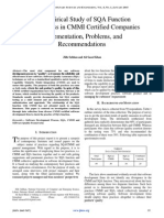 An Empirical Study of SQA Function Effectiveness in CMMI Certified Companies Implementation, Problems, and  Recommendations
