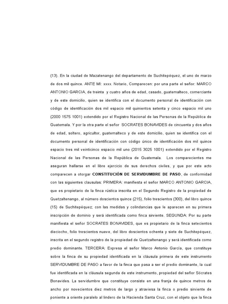 13 Escritura de Constitución de Servidumbre de Paso de 2 Predios de ...