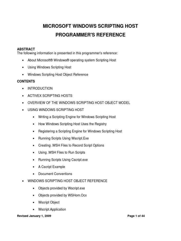 Windows Scripting Host Programmer's ReferenceProgrammer's