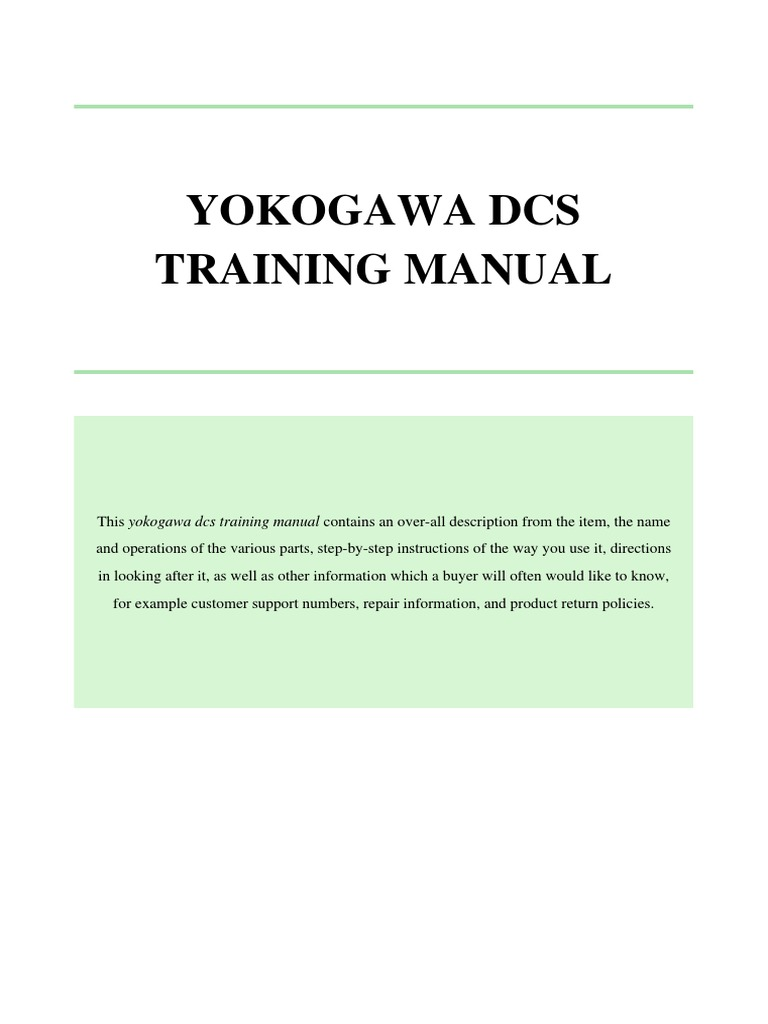 yokogawa dcs training manual pdf emergency medical technician rh scribd com Yokogawa Loop Controller Yokogawa Centum VP