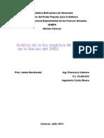 Análisis de La Ley Orgánica de Seguridad de La Nación 2002