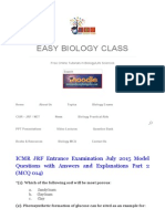 ICMR JRF 2015 Previous _ Model Question Paper _ Easybiologyclass