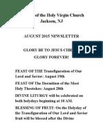 Nativity of the Holy Virgin Church - Newsletter - August, 2015
