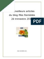 Les meilleurs articles du blog ''Mes Remèdes'' du 2è trimestre 2015