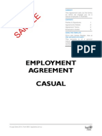 Employment Agreement for a Casual Employee Template Sample