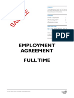 Employment Agreement for a Full Time Employee Template Sample