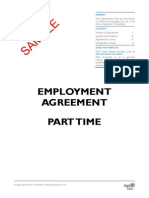 Employment Agreement for a Part Time Employee Template Sample