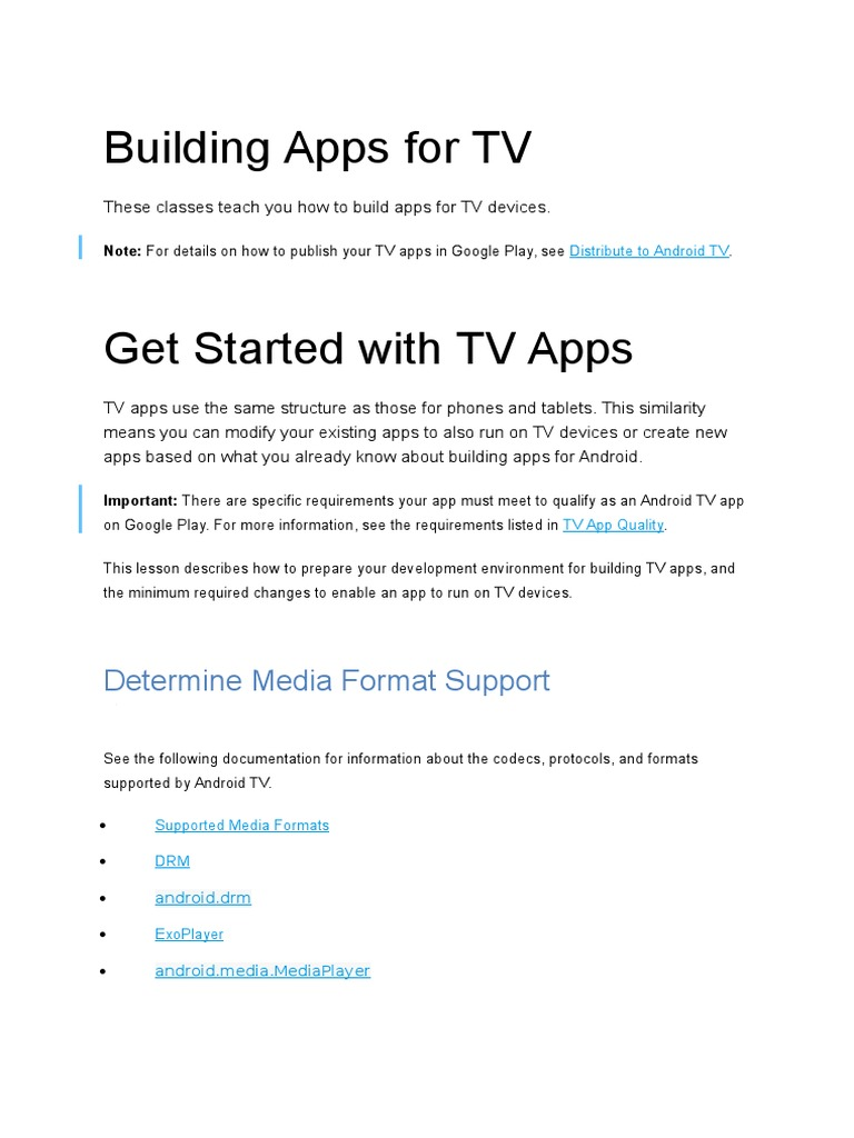 Building Apps for TV | Android (Operating System) | Google Play