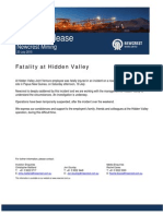 Market Release - Hidden Valley Fatality