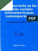 La Democracia en Las Ciencias Sociales Latinoamericanas Contemporáneas