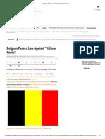 Belgium Passes Law Against _Vulture Funds