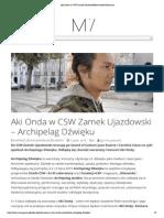 Aki Onda w CSW Zamek UjazdowskiKwartalnik Muzyczny