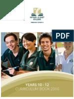 2016 Yr 10-12 Curriculum Book