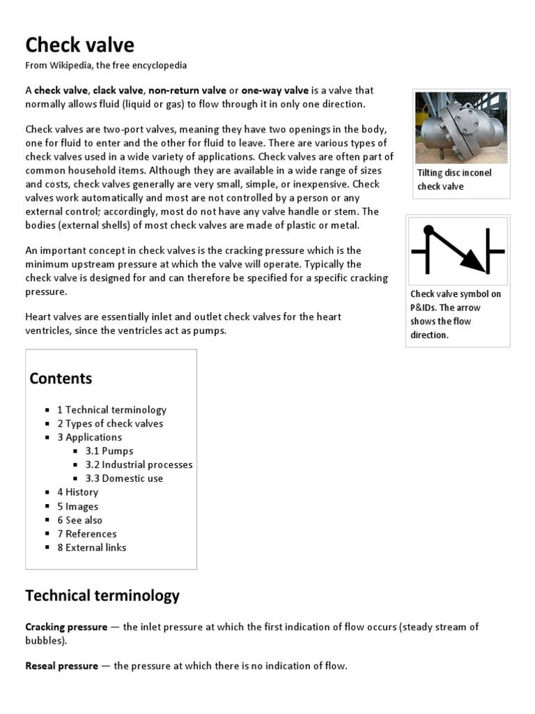 Check Valve Wikipedia The Free Encyclopedia Valve Fluid Dynamics