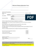 Practicable Machine Testing Application Form