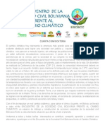 Convocatoria 4to Encuentro de la Sociedad Civil Boliviana Frente al Cambio Climático