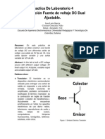 Practica De Laboratorio 4 Construcción Fuente de voltaje DC Dual Ajustable.