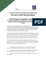 Llamado a ponencias académicas para Conferencia Periodismo en Debate 2015 El nuevo perfil del periodista