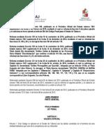 C+¦digo Penal de Tabasco ultima reforma 21 de febrero 2015.pdf