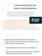 Challenges and Opportunities for Fiscal Autonomy in Muslim Mindanao