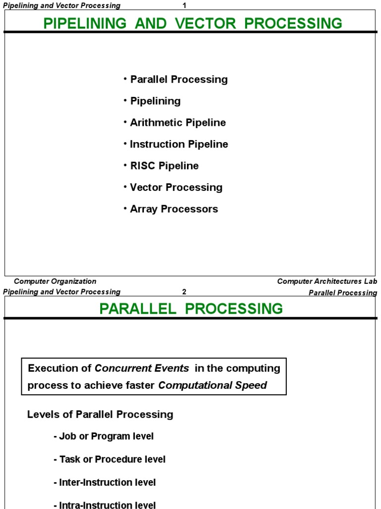 Pipelining Vector Proc | Parallel Computing | Instruction Set