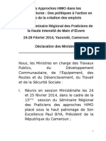 Session Ministre Declaration Les Approches HIMO Dans Les Infrastructures 1