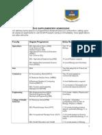 Uz 2015 Supplementary Admissions
