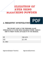 CBSE Chemistry Project - Sterilization of Water Using Bleaching Powder