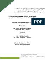 Canasta Básica Evolución Precios Agosto 2014-Abril 2015